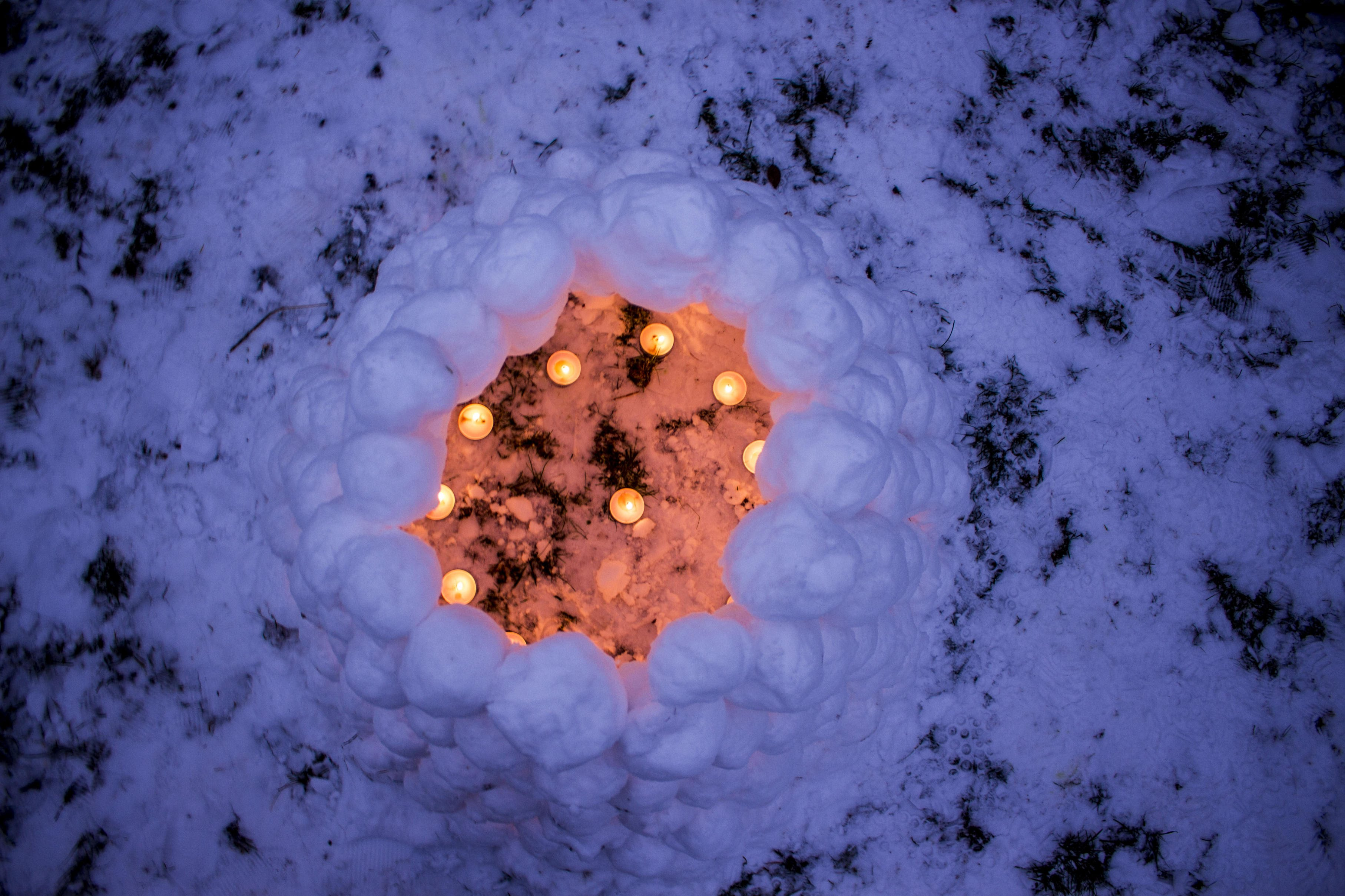 snow lantern from above