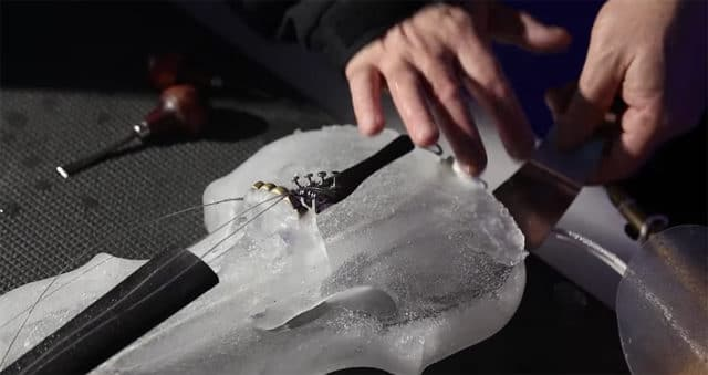making an ice violin