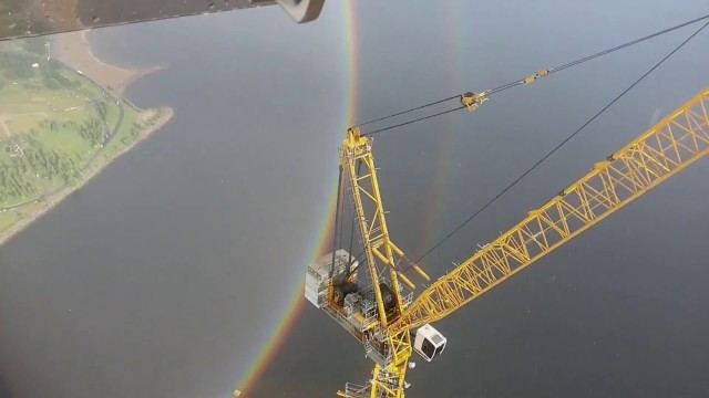 A full circle rainbow as seen from a construction crane