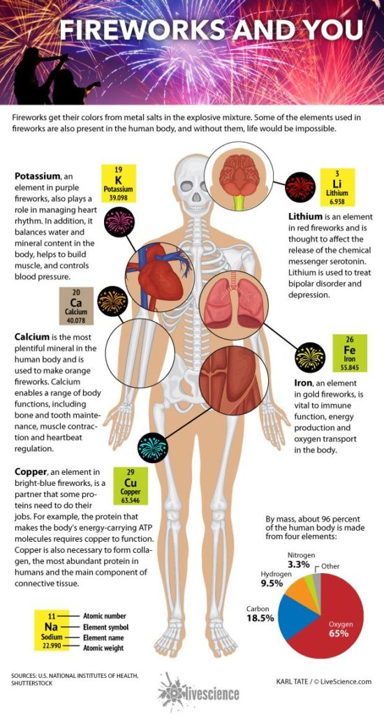 Diagram shows fireworks elements and their roles in the human body by Karl Tate