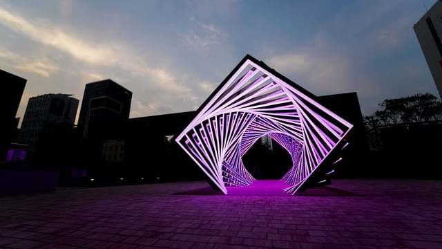Accumulation, a glimmering LED light tunnel installation