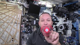 A fidget spinner in space