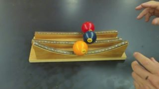 Homemade marble track demonstrations by science teacher Bruce Yeany