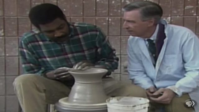 Making clay pots and bowls on a pottery wheel with Mister Rogers