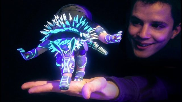A tumbling, glowing, furry puppet creature by Barnaby Dixon