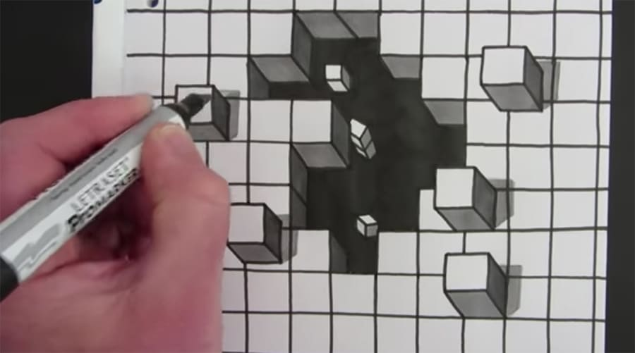 cube hole drawing