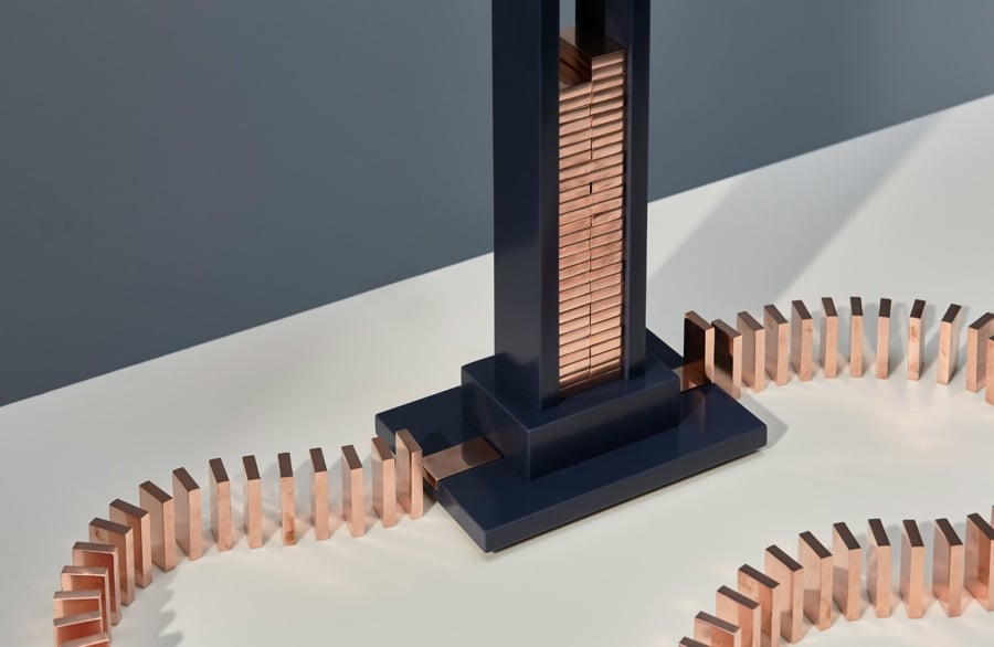 copper domino lamp