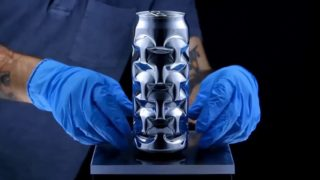 Thumb-dented aluminum can sculptures