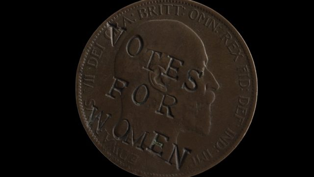 Defacing coins like a British suffragette