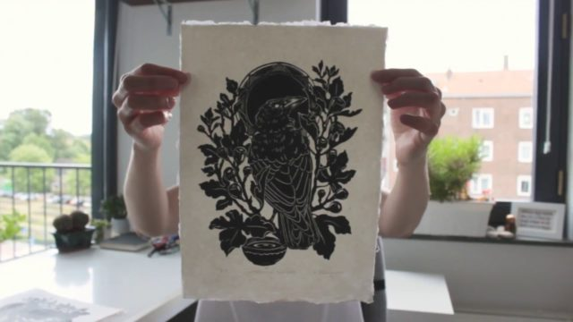 Linocut carving and printing by Maarit Hänninen