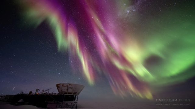 Aurora Australis in the polar night sky