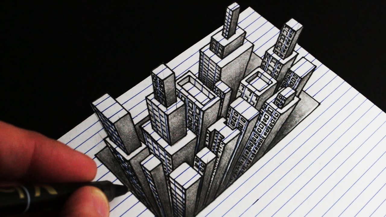 How To Draw A 3d City Line Paper Anamorphic Drawing The Kid