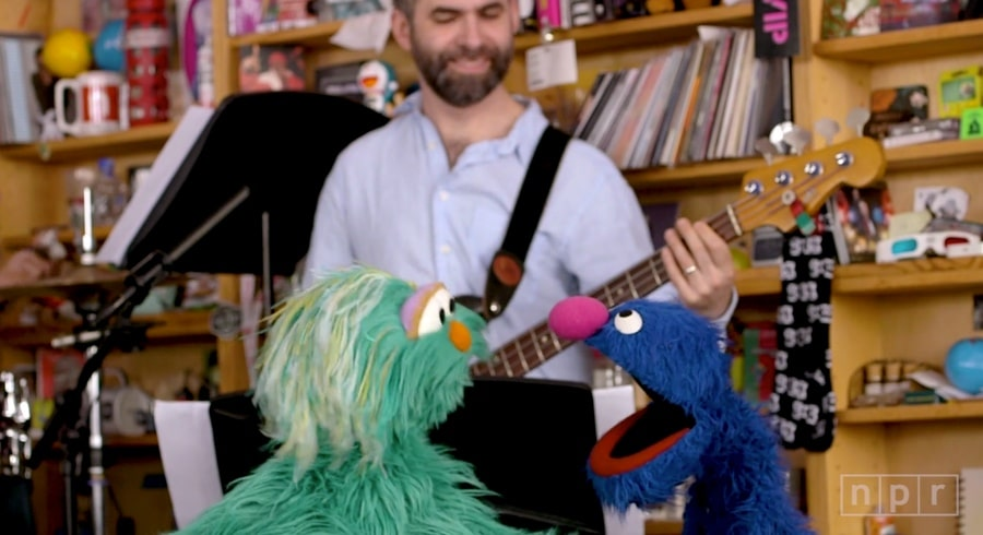 tiny desk with muppets Rosita and Grover