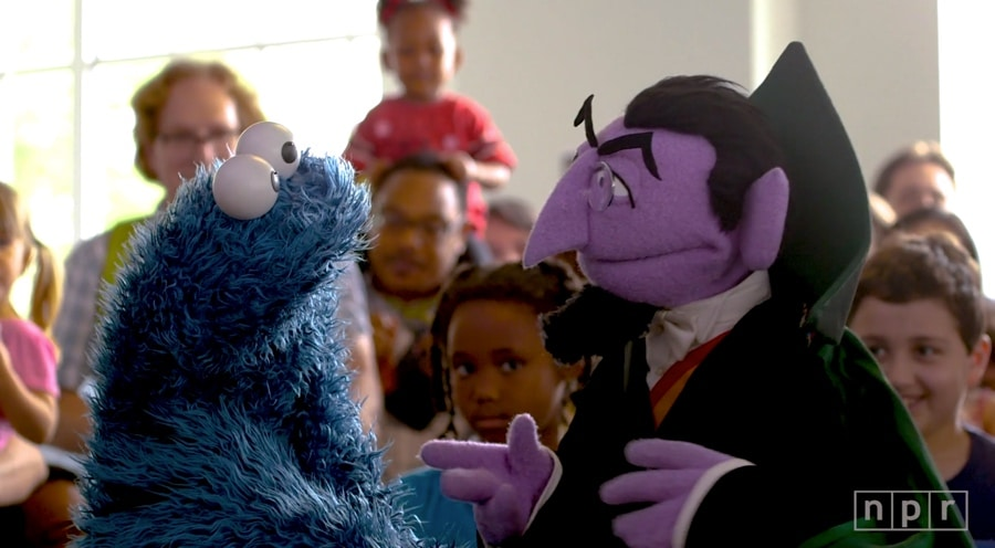 tiny desk with muppets cookie and the count