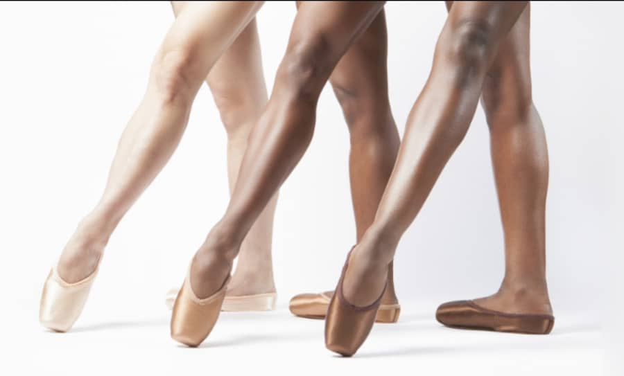 Pink satin, Ballet Bronze, and Ballet Brown pointe shoes