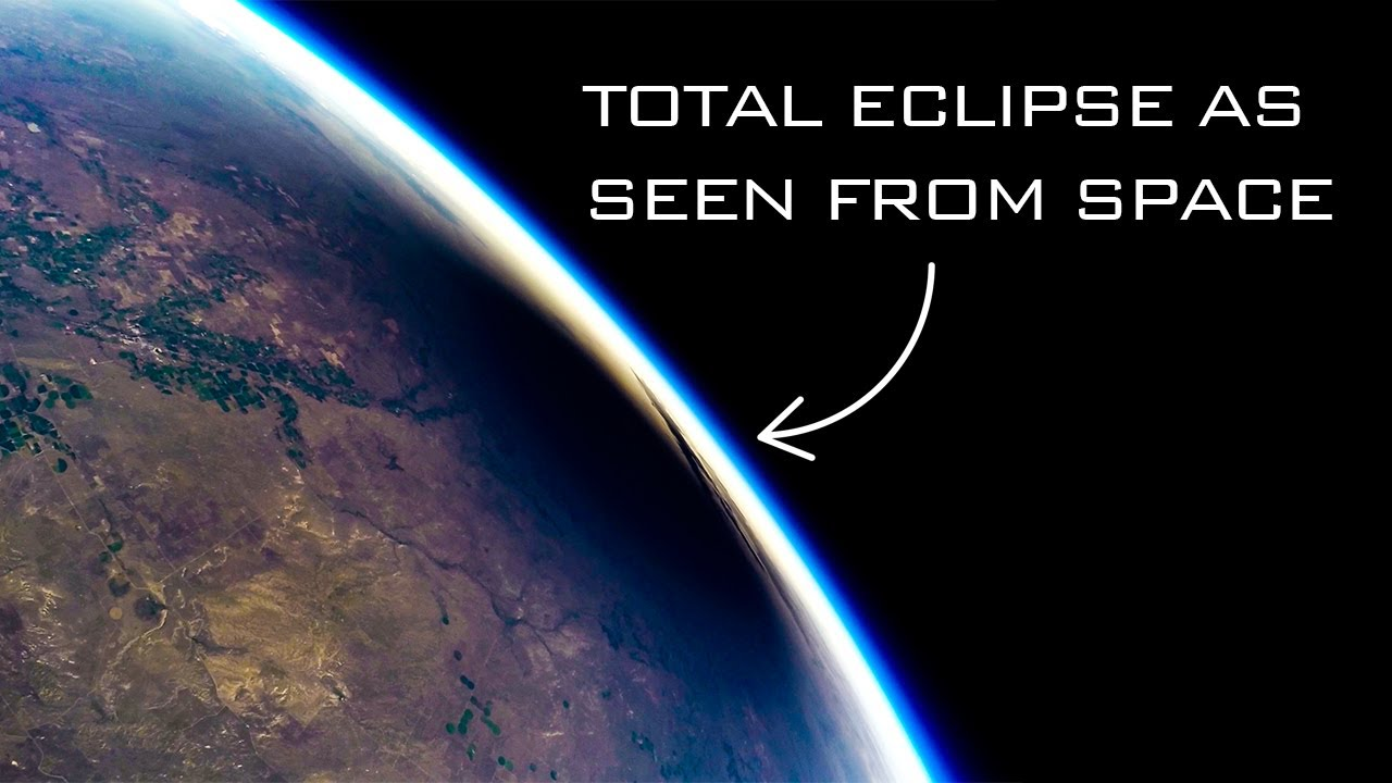 A solar eclipse as seen from the edge of space