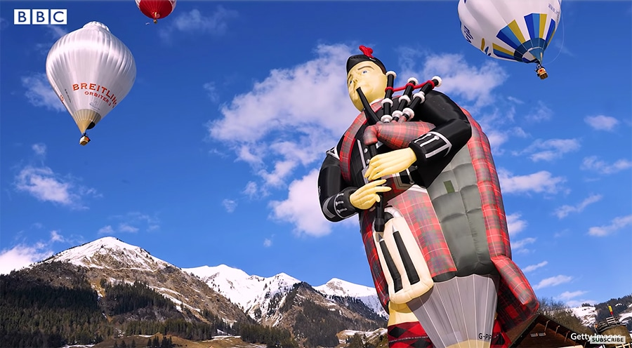 bagpipes hot air balloon