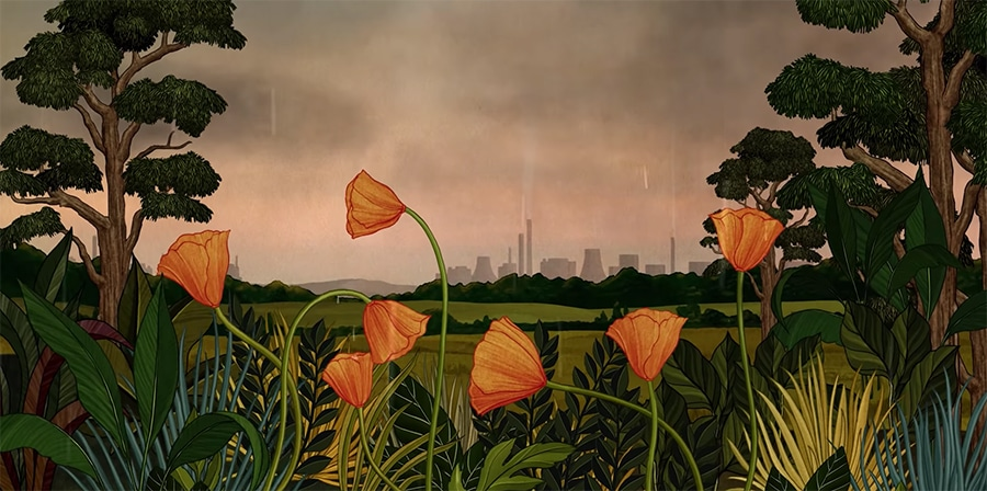 poppies with the city