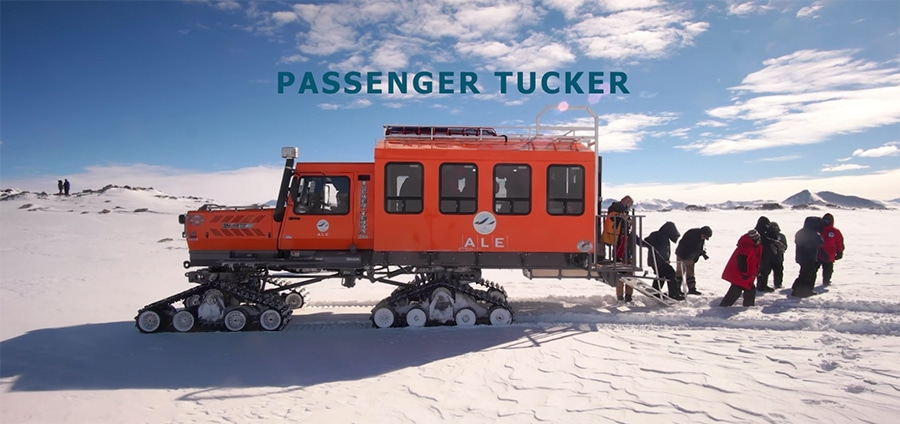 passenger truck at union glacier camp