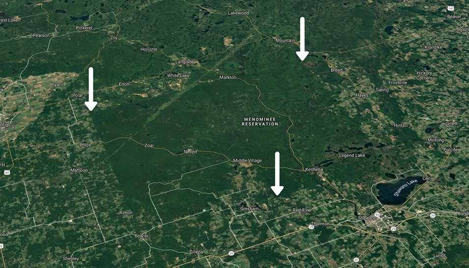 Menominee Reservation Forests - image from above