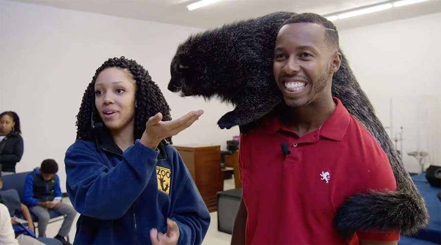 Corina Newsome and unnamed co-worker with a binturong