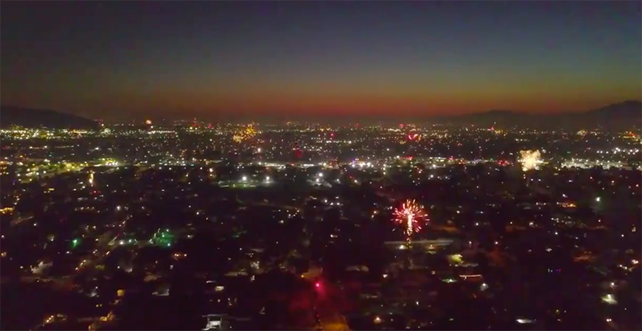 drones over los angeles fireworks