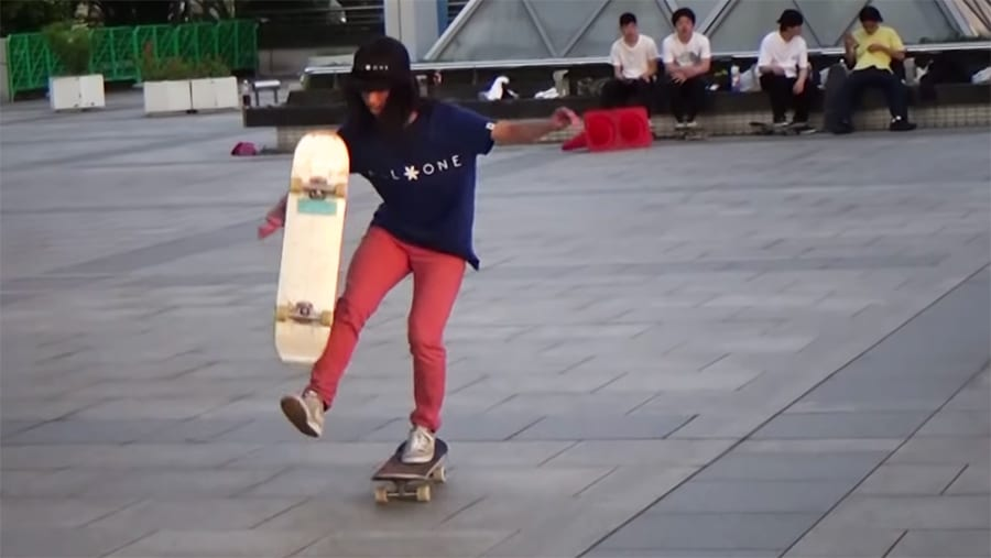 yamamoto with two skateboards