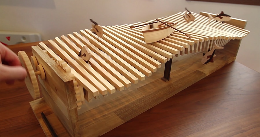 kinetic wave machine from above