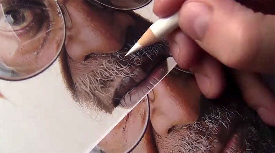 drawing beard hair with a white pencil