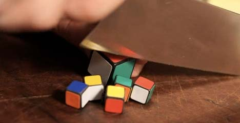 cutting up rubiks cubes