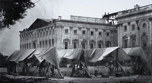 historic photo during construction