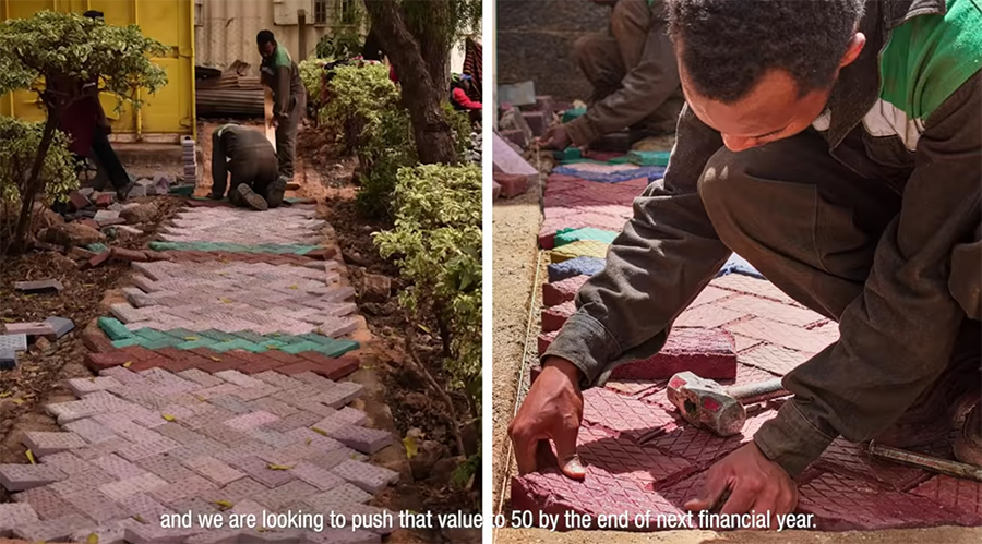 laying paving stones in place