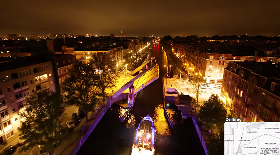 boating in the netherlands' canals at night