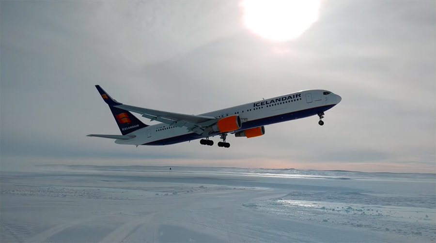 taking off from the glacier runway