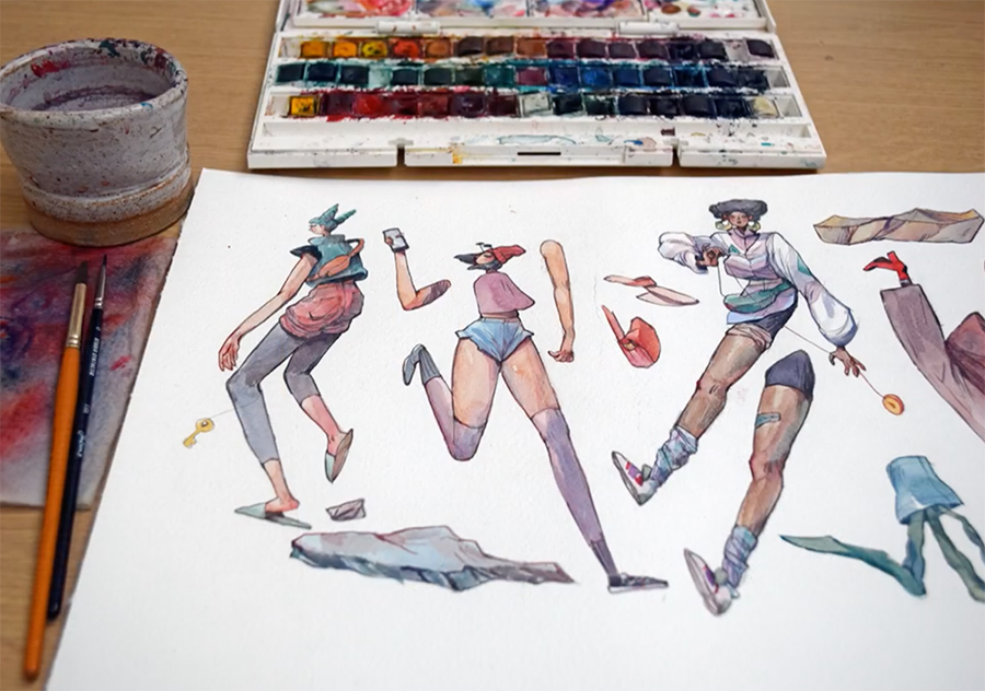painted illustration layers