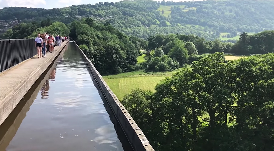 traveling over the aqueduct