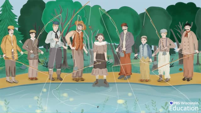 fly fishing in a crowd of men