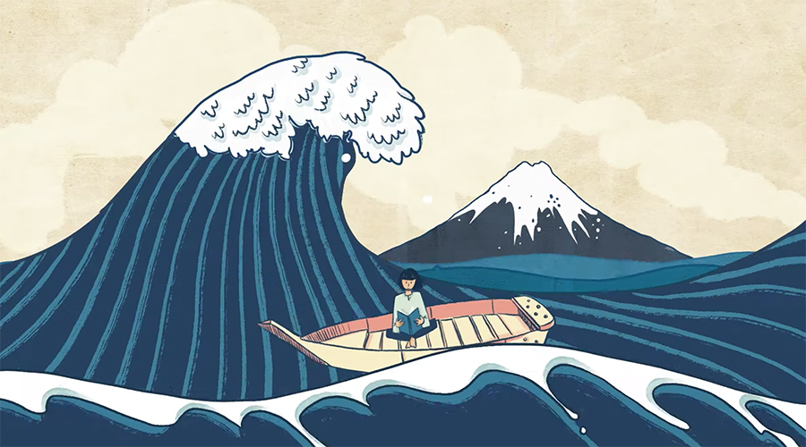 The Great Wave, animated for MetKids