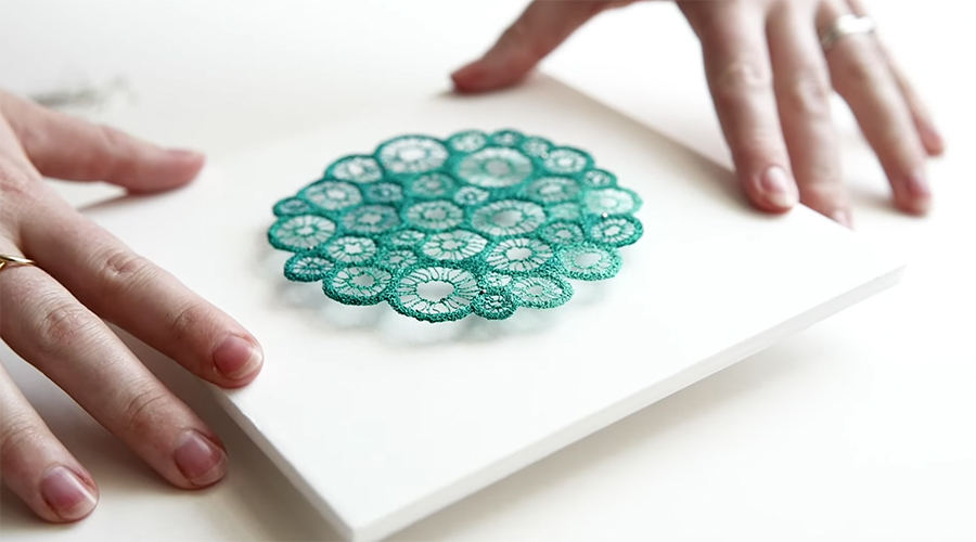 mounting an embroidered piece