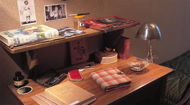 Anne's diary on a desk